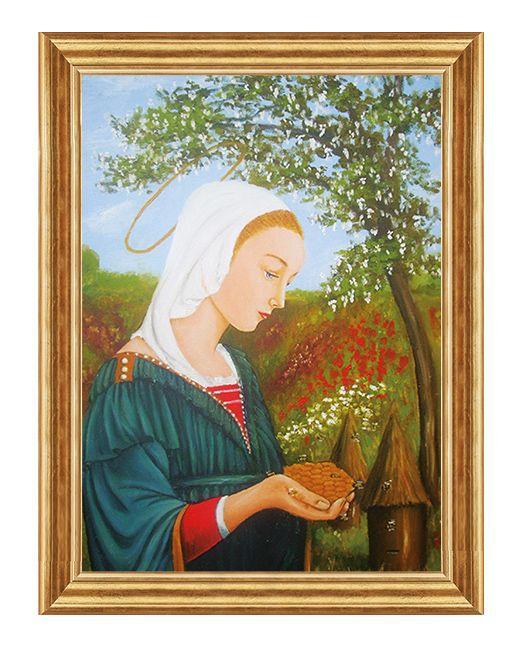 Święty patron, obraz Maria Królowa Pszczół z przykładową ramą