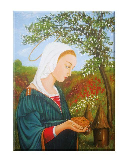Święty patron, obraz na płótnie Maria Królowa Pszczół bez ramy