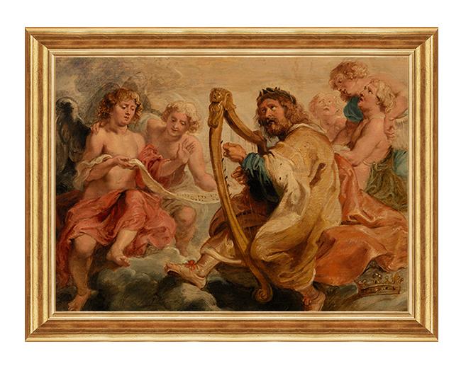Dawid grajacy na harfie - Obraz na plotnie